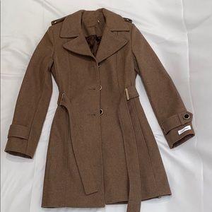 Calvin Klein Wool Blend Camel Trench Coat